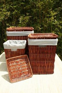 S/3 Sq tan willow laundry basket