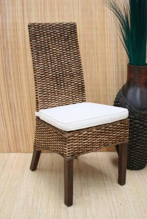 Rattan peel Dining chair w/cushion
